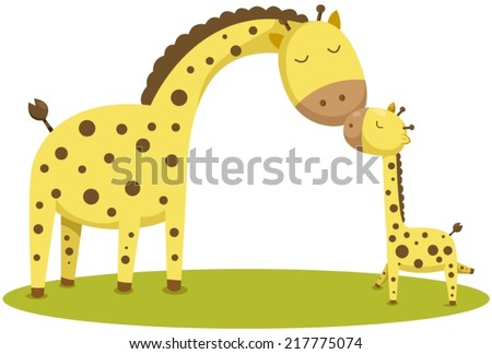 illustration of isolated cute baby giraffe and mother  - stock vector
