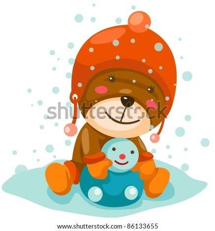 illustration of isolated cute bear playing snow on white background - stock vector