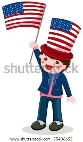 illustration of isolated cute boy holding American flag on white