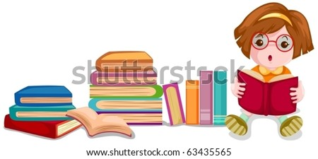 illustration of isolated cute girl reading book on white background - stock vector
