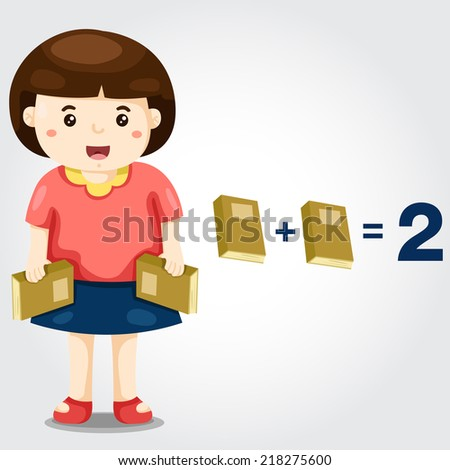 illustration of isolated cute girl with mathematics - stock vector