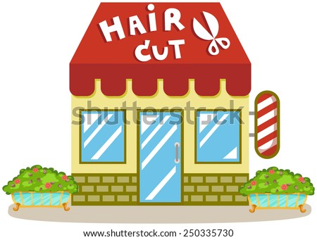 illustration of isolated cute haircut shop on white - stock vector