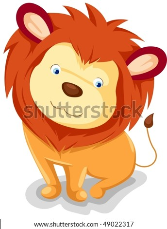 illustration of isolated cute lion sitting on white background - stock vector