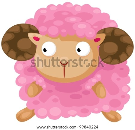 illustration of isolated cute sheep on white background - stock vector