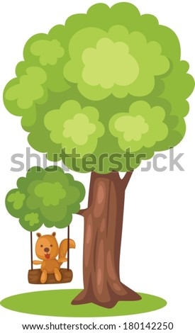 illustration of isolated cute squirrel playing tree swing - stock vector