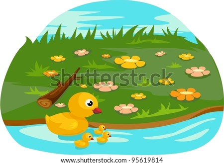 illustration of isolated duck family on white background - stock vector