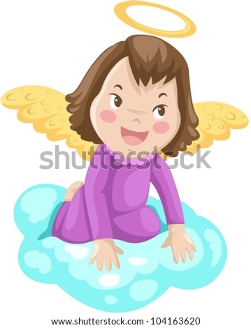 illustration of isolated fairy angle sitting on cloud
