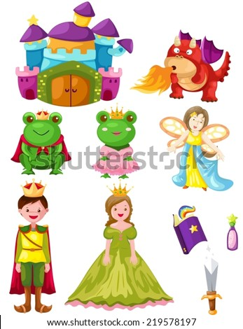 illustration of isolated fairytale set on white background