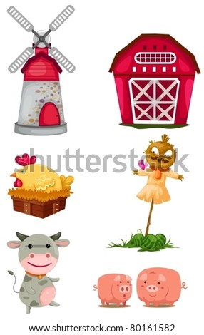 illustration of isolated farm set on white background - stock vector