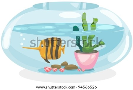 illustration of isolated fish bowl on white background - stock vector
