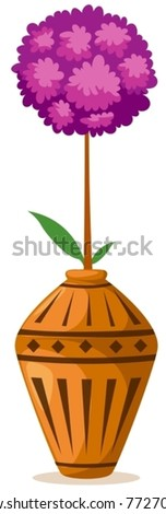 illustration of isolated flowers ball in vase on white background - stock vector
