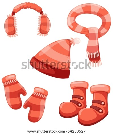 illustration of isolated girl accessories winter set - stock vector