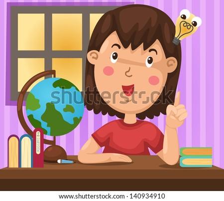 illustration of isolated girl doing homework vector - stock vector