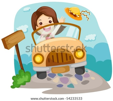 illustration of isolated girl driving a car - stock vector