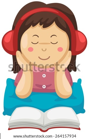illustration of isolated girl listening music and reading book  - stock vector