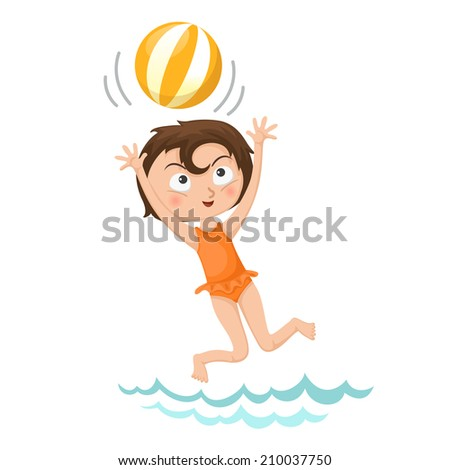 illustration of isolated girl playing volleyball vector - stock vector
