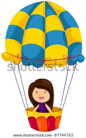 illustration of isolated girl riding hot air balloon on white - stock vector