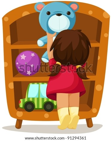 illustration of isolated girl with toys on white background - stock vector