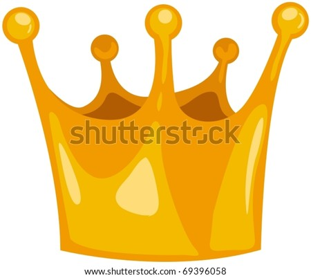 illustration of isolated golden crown on white background - stock vector
