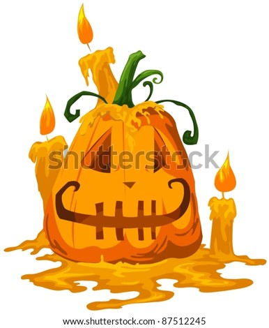 illustration of isolated halloween pumpkin with candle on white