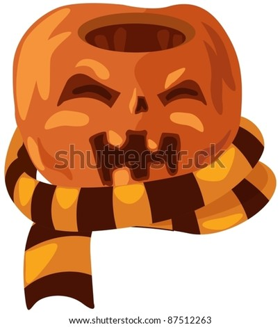 illustration of isolated  halloween pumpkin with scarf - stock vector