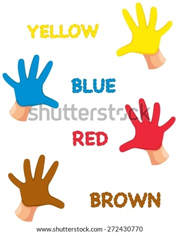 illustration of isolated hands colors with letters  - stock vector