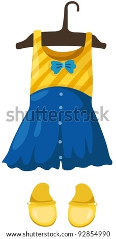 illustration of isolated hanging dress girl and shoes on white - stock vector