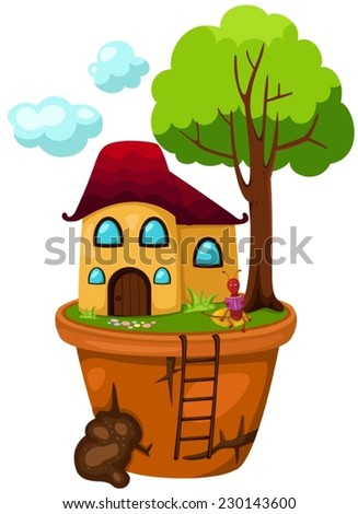 illustration of isolated house pot with ant  - stock vector