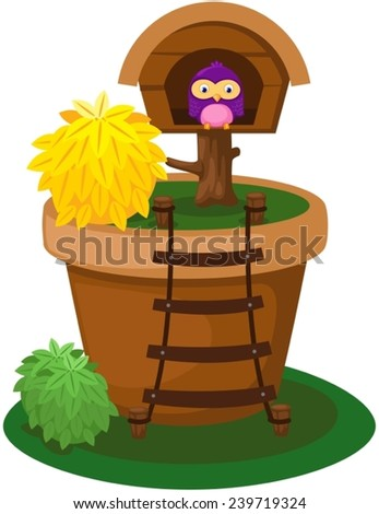 illustration of isolated house pot with cute owl - stock vector