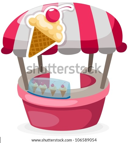 illustration of isolated ice cream stand shop on white - stock vector
