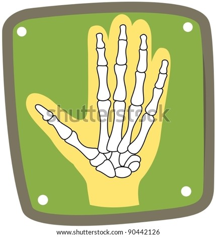illustration of isolated icon x-ray of hand on white background - stock vector