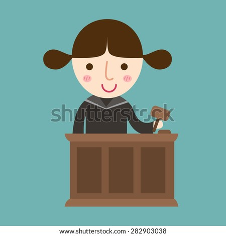 illustration of isolated judge with gavel makes verdict for law vector - stock vector