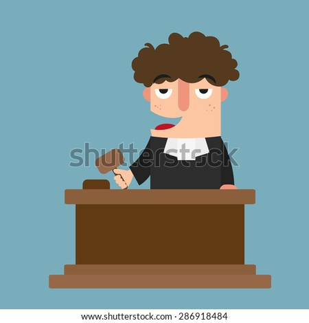 illustration of isolated judge with gavel vector - stock vector