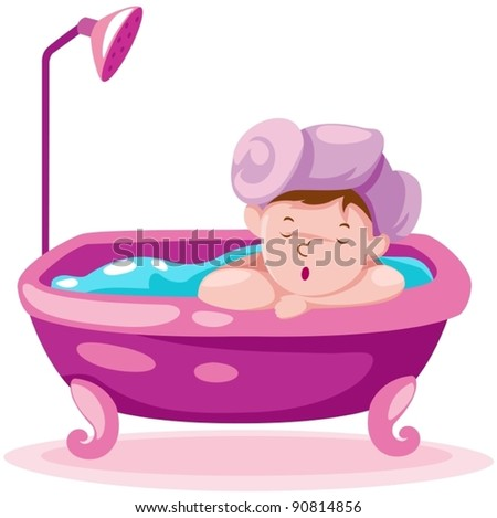 illustration of isolated kid in the bathtub on white background - stock vector