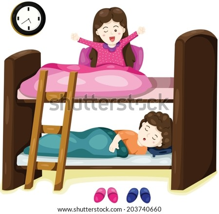 illustration of isolated little kids on bunk bed on white  - stock vector