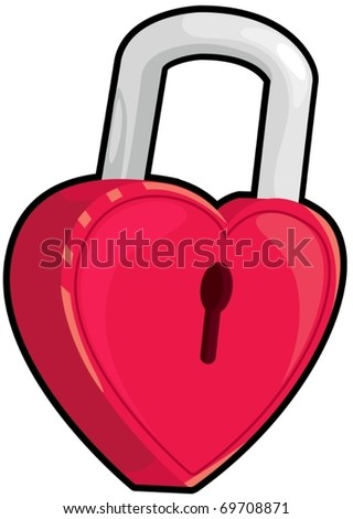 illustration of isolated locked heart on white - stock vector