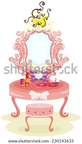 illustration of isolated luxury dressing table
