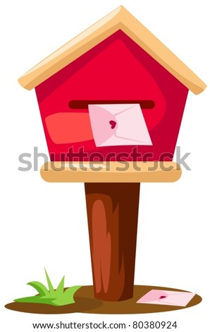illustration of isolated mailbox with  letter on white background - stock vector