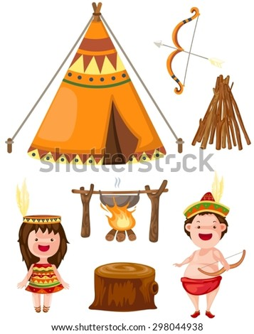 illustration of isolated native american set on white - stock vector