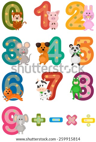 illustration of isolated numbers mathematics with animals  - stock vector