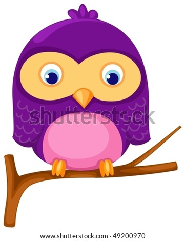 illustration of isolated owl  sitting on a branch - stock vector