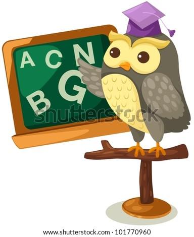 illustration of isolated owl teacher on  white - stock vector