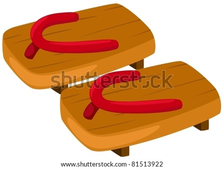 illustration of isolated pair of wooden clog on white background - stock vector