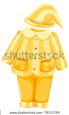 illustration of isolated  pajamas and hat on white background - stock vector