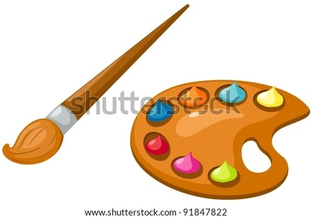 illustration of isolated palette and paintbrush on white - stock vector