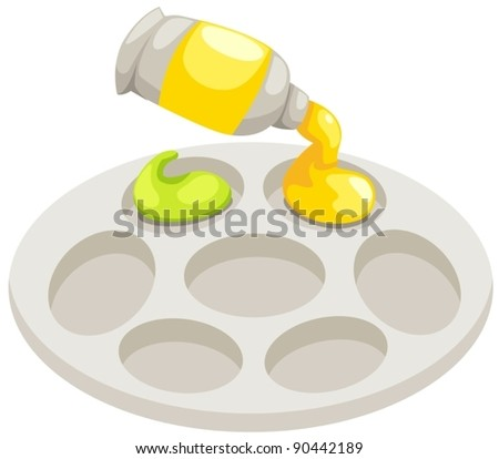 illustration of isolated palette and tubes of paint on white - stock vector