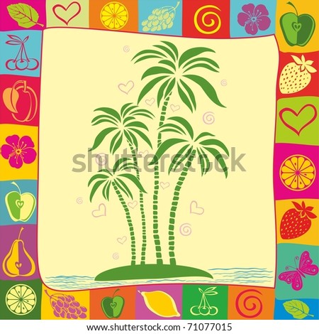 illustration of isolated palm tree on desert island - stock vector