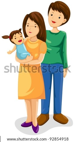 illustration of isolated parents with their new born baby on white - stock vector