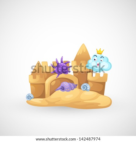 illustration of isolated sand castle vector - stock vector