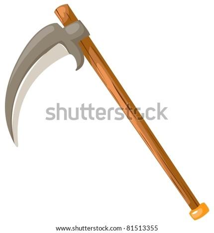 illustration of isolated scythe on white background - stock vector